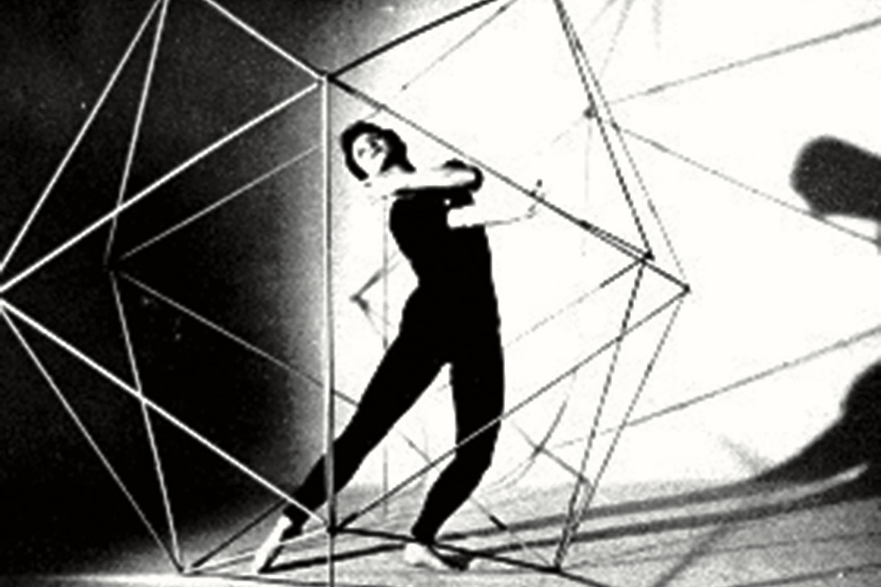 Black and white image of models of Geodesic structure with dancer Vera  in Icosahedron, Undated © COPYRIGHT | DANIEL FIRMAN | ALL RIGHTS RESERVED